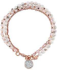 Crystal Charm & White Bead Three-Row Bracelet in Rose Gold-Plate