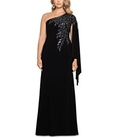 XSCAPE Plus Size One-Shoulder Beaded Cape Gown