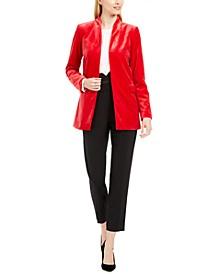 Long Velvet Blazer, Woven Top & High-Waist Tuxedo Pants