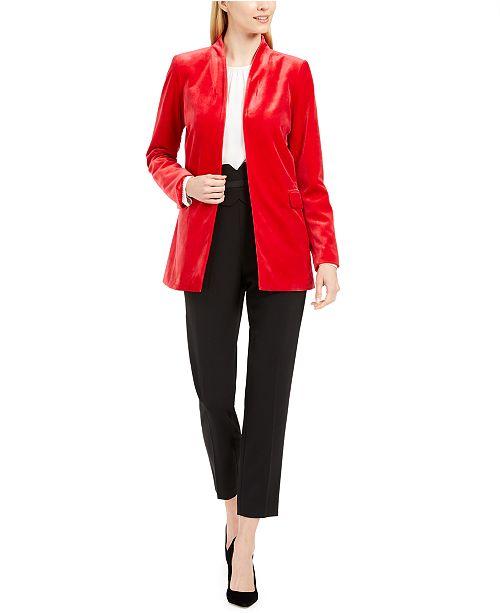 Calvin Klein Long Velvet Blazer, Woven Top & High-Waist Tuxedo Pants