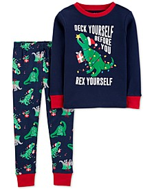 Toddler Boys 2-Pc. Cotton Holiday Dino Pajamas Set