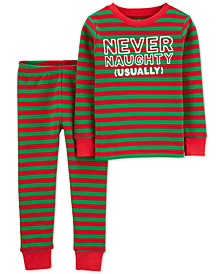 Toddler Boys 2-Pc. Thermal Never Naughty Pajamas Set