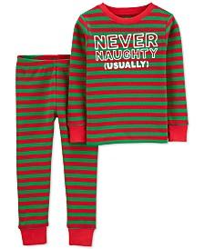 Carter's Toddler Boys 2-Pc. Thermal Never Naughty Pajamas Set