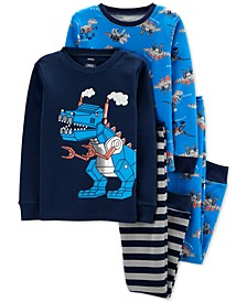 Little & Big Boys 4-Pc. Cotton Dinosaur Robot Pajama Set