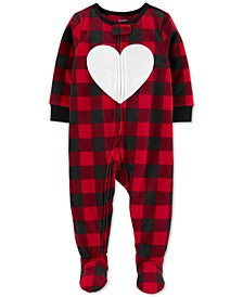 Toddler Girls 1-Pc. Buffalo Check Fleece Footie Pajamas