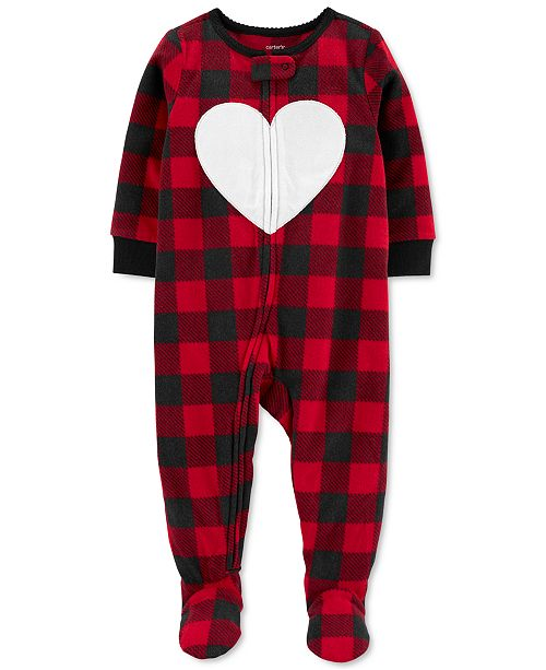 Carter's Toddler Girls 1-Pc. Buffalo Check Fleece Footie Pajamas