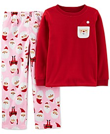 Little & Big Girls 2-Pc. Fleece Santa Pajamas Set