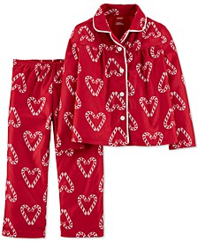 Toddler Girls 2-Pc. Candy Cane Heart-Print Fleece Pajama Set