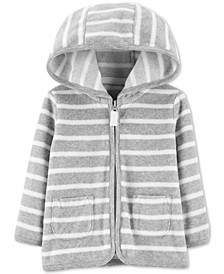 Baby Boys Stripe Fleece Full-Zip Hooded Cardigan