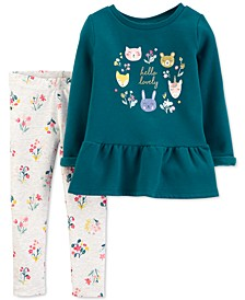 Baby Girls 2-Pc. Hello Lovely Peplum Top & Printed Leggings Set