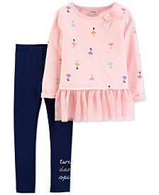Baby Girls 2-Pc. Dancer-Print Peplum Top & Leggings Set