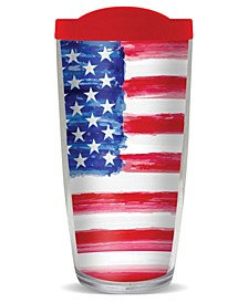 USA Flag Watercolor Double Wall Insulated Tumbler, 16 oz