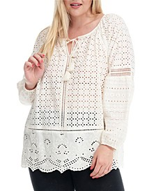 Trendy Plus Size Eyelet Blouse