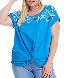 Fever Knot Front Embroidered Tee