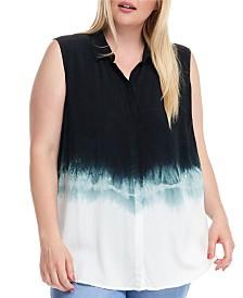 Fever Sleeveless Dip Dye Button Down Shirt