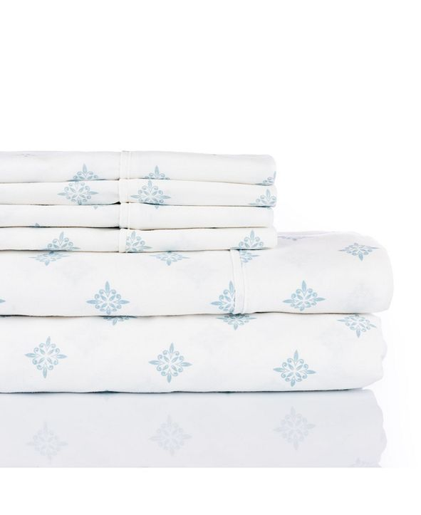 Aspire Linens 300 Thread Count with 2 Bonus Pillowcases, 6-PC Printed King Sheet Set