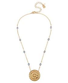 Shield Pendant Pearl Necklace