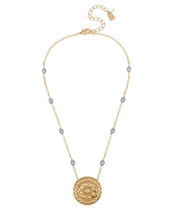 Robert Lee Morris Soho Shield Pendant Pearl Necklace