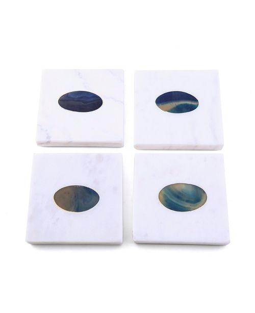 Thirstystone CLOSEOUT Set of 4 White Marble Coasters with Blue Agate