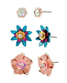 Mixed Flower Stud Earrings Set