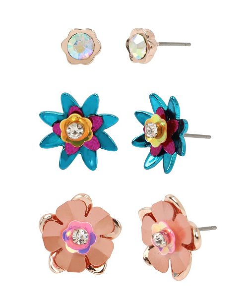 Betsey Johnson Mixed Flower Stud Earrings Set