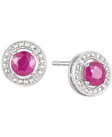 Ruby (5/8 ct. t.w.) & Diamond Accent Stud Earrings in Sterling Silver