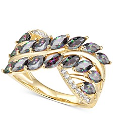 Mystic Topaz (2 ct. t.w.) & Diamond (1/10 ct. t.w.) Statement Ring in 14k Gold-Plated Sterling Silver
