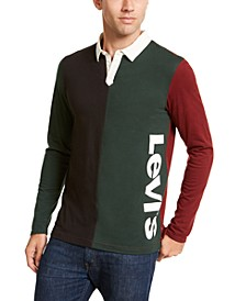 Men's Colorblocked Long-Sleeve Polo Shirt