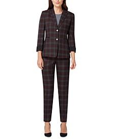 Roll-Cuff Plaid Blazer & Plaid Pants