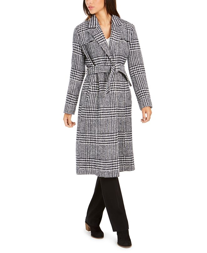 Cole Haan Signature Maxi Plaid Belted Coat