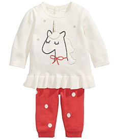 Baby Girls 2-Pc. Cotton Unicorn Tunic Sweater & Leggings Set, Created For Macy's