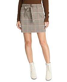 Inland Sashed Plaid Mini Skirt