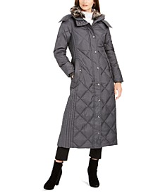 Maxi Puffer Coat With Faux-Fur Trim