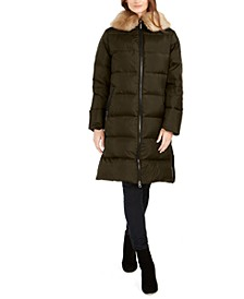 Faux-Fur Collar Down Puffer Coat