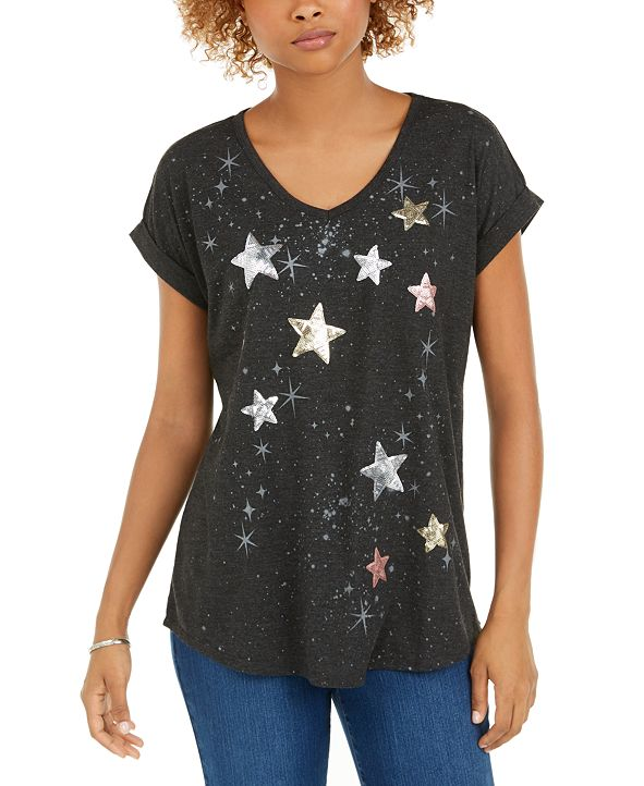 Style & Co Petite Sequined Star Graphic Top, Created For Macy's