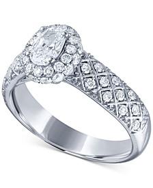 Diamond Lattice-Pattern Engagement Ring (1 ct. t.w.) in 14k White Gold