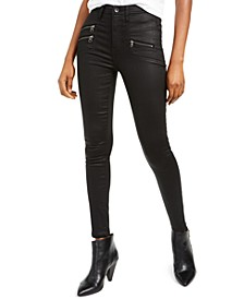 Coated Zipper-Pocket Skinny Jeans