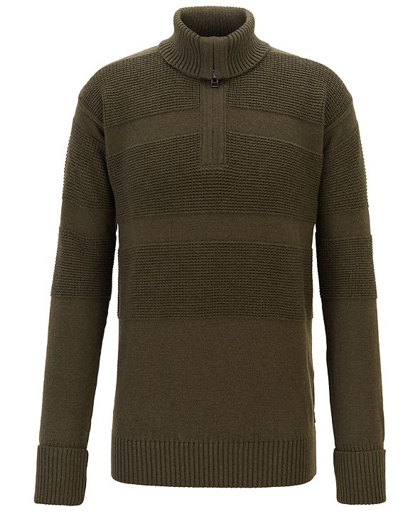 Hugo Boss BOSS Men's Bastiani Zip-Neck Troyer Sweater