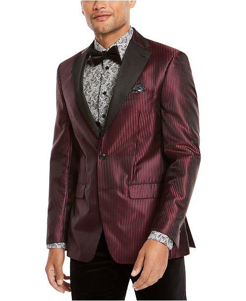 Tallia Orange Men's Slim-Fit Wine Stripe Dinner Jacket