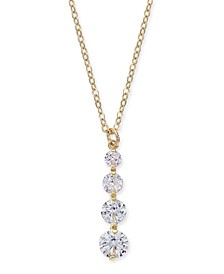 "INC Gold-Tone Crystal Graduated Pendant Necklace, 17"" + 3"" extender, Created for Macy's"