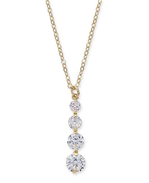 "INC International Concepts INC Gold-Tone Crystal Graduated Pendant Necklace, 17"" + 3"" extender, Created For Macy's"