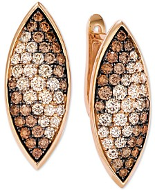Le Vian® Chocolate Soufflee® Diamond Leaf Drop Earrings (2-1/6 ct. t.w.) in 14k Rose Gold