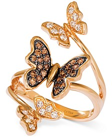 Diamond Butterfly Statement Ring (1/2 ct. t.w.) in 14k Rose Gold