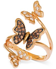 Le Vian® Diamond Butterfly Statement Ring (1/2 ct. t.w.) in 14k Rose Gold