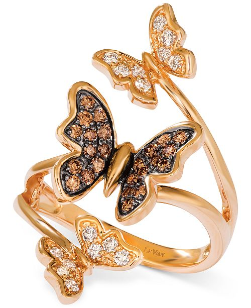 Le Vian Diamond Butterfly Statement Ring (1/2 ct. t.w.) in 14k Rose Gold