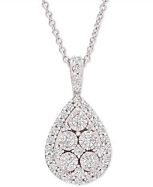 "Diamond Teardrop Cluster 20"" Pendant Necklace (1/2 ct. t.w.) in Sterling Silver"