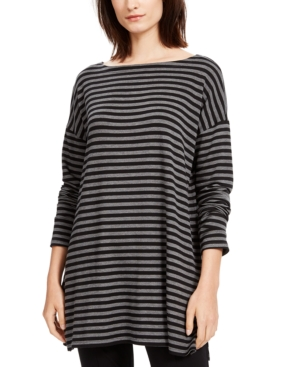 EILEEN FISHER STRIPED BOAT-NECK TUNIC, REGULAR & PETITE