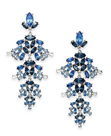 INC Silver-Tone Marquise-Crystal Chandelier Earrings, Created For Macy's