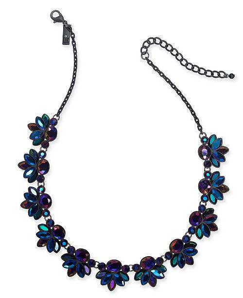 """INC International Concepts INC Black-Tone Stone Cluster Collar Necklace, 17"""" + 3"""" extender, Created For Macy's"""