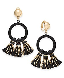 INC Gold-Tone Velvet Hoop & Tassel Clip-On Drop Earrings, Created For Macy's